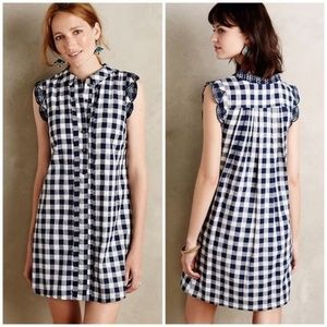 Anthro Dear Creatures Trinette navy plaid dress